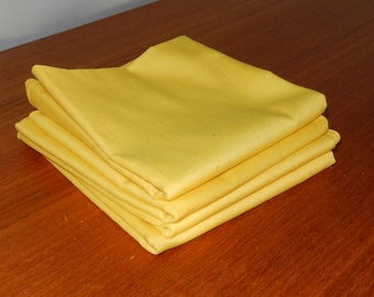 Vintage Set of 4 Bright Yellow Cotton Dinner Napkins