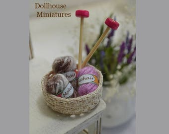1/12 Scale doll house miniature yarn basket ( with 3 skein mohair yarn and needles )
