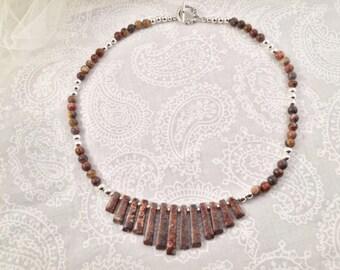 Leopardskin Jaspar necklace, with silver accents Necklace