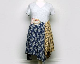 L/XL Boho Chic Cotton Tunic Dress, Funky Artsy Handmade Long T-shirt Tunic, Eco Friendly Upcycled Women's Clothing by Primitive Fringe