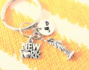 "NEW YORK KEYCHAIN - 3D statue of liberty - with initial charm (fits 1-2 characters) Read ""item details"" below and see all photos"