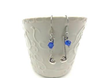Free Shipping,Silver Golf Earrings,golf club earrings,silver golf charm,lady golfer,stick golf charms,handmade golf earrings, silver charms