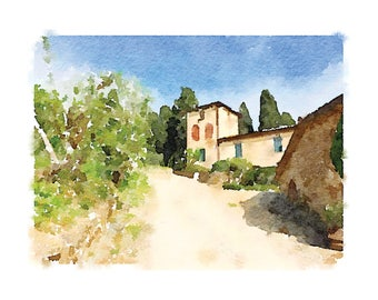 Tuscany Winery Printable Artwork: Winery watercolor, Tuscany watercolor, Italy landscape, Italian countryside, Tuscan, Winery, Chianti