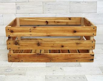 "Reclaimed Cedar Milk Crate 28"" x 24"" x 12"" . . . (aka reclaimed wood crate, cottage chic bin, wine crate shelf, box, basket)"