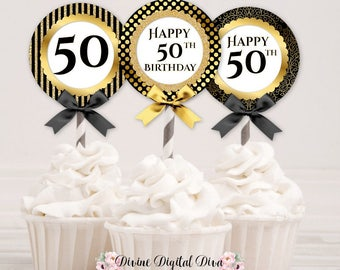 Cupcake Topper Circles 50th Birthday | Black & Gold | Digital Instant Download