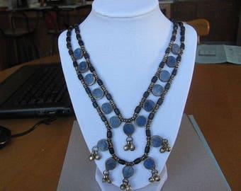 Vintage Necklace, Blue Stone Necklace, Hippie Jewelry, Collectible Pendant, Retro Vintage