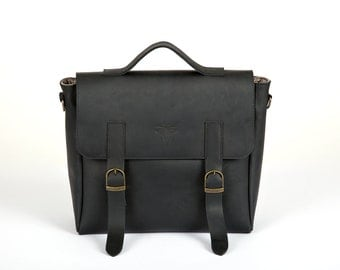 Leather messenger bag, Black leather bag, crossbody bag messenger, Leather messenger men, Satchel bag, Leather rucksack