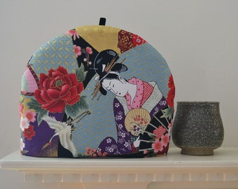 Floating World Series Japanese Artisanal Luxe Tea Cozy - 5 Sizes - Geisha - Cranes - Chrysanthemums - Origami Paper