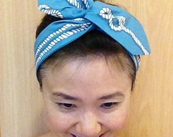 Nautica Rope Hair Scarf/Fine Pima Cotton Hair Accessory/Wired Headband Hair Tie Headwrap/Turband/Blue