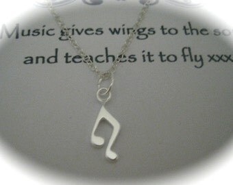Sterling Silver Music Note Charm Necklace with a message