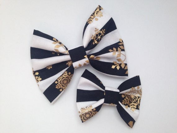Black and white with gold metallic snowflake handmade fabric bow