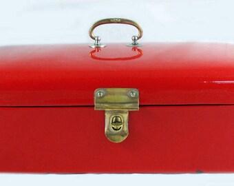 Vintage antique Dutch bread box red enamel