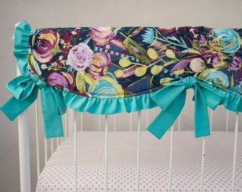 Midnight Floral Crib Cot Rail Guard Cover - Aqua Blue Purple Plum Violet Gray