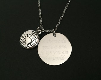 Stainless Steel World Necklace. World Globe Necklace. You Meant the World To Me Necklace.Long Distance Relationship Necklace.Friendship Gift