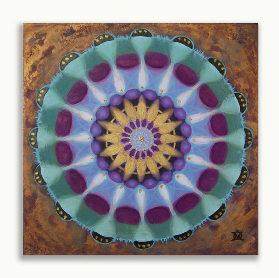 ORIGINAL mandala painting, spiritual art, home decor, mandala art, wall decor, bronze, green, purple