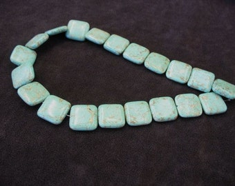 Natural Himalayan Turquoise Bead Strand 20mm x 20mm, Natural Turquoise Beads, Square Shaped Turquoise