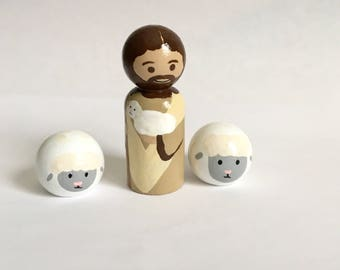 Jesus the Good Shepherd and sheep -- Hand painted Wooden Peg Doll Saints