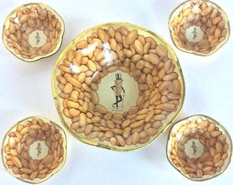 Set of 5 Vintage Mr. Peanut Lithographed Party Bowls