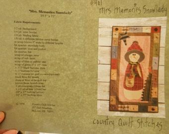 Mrs. Memories Snowlady #401 Wall Art Quilt Pattern