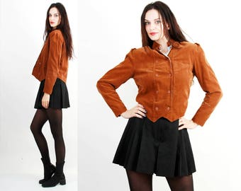 Vintage Jacket / Corduroy Jacket / Steam Punk Jacket / Boxy Jacket / Tan Brown Jacket Size S / M