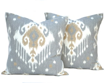 Two ikat pillow covers,  Home decor, decorative pillow, throw pillow, Tan Pillow,  Grey  pillow, DIFFERENT SIZES AVAILABLE