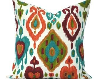 """1 ikat  indoor/outdoor pillow cover, 12"""", 14"""", 16"""" 18"""" 20"""", throw pillow, decorative pillow, Outdoor Pillow, Red Pillow, Green pillow"""