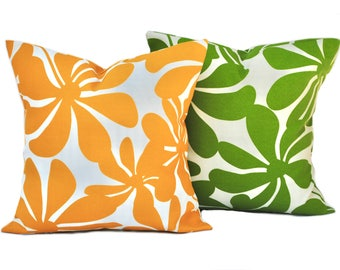 Two Outdoor pillow covers, cushion, decorative throw pillow, decorative pillow, accent pillow, Red pillow, Green Pillow