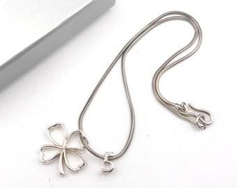 Chanel 925 Silver Clover No.5 Pendant Necklace