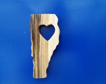 VERMONT STATE Magnet -  love my state, hand crafted from driftwood.  Order yours today!
