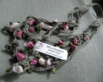 Necklace rose cotton, handmade crochet, gray with soft pink roses.