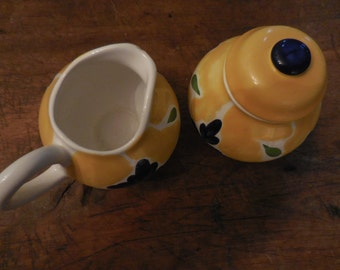 Vintage Dansk Portugal St. Tropez Sugar Bowl with Lid  and Creamer Yellow Blue and Green Modern 1960's