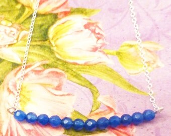 AAA+ Sapphire Bead Bar Necklace With Sterling Silver