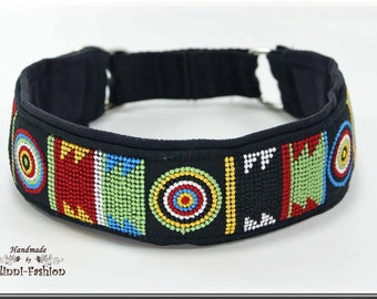 Dog collar MASSAI, Martingale,  embroidered LIFE blue green red yellow