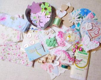 LOT Hand Frayed Ribbon Cottage Inspiration - DIY Bundle - Buttons Roses - Brighton Tin - Bobbins Hearts Paper - Craft Quilt Journal 707