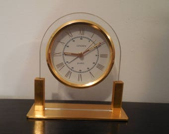 vintage 1980s Linden quartz brass clock Linden clock brass clock table clock quartz clock brass clock retro alarm clock vintage Linden clock