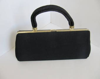 Vintage Black Silk Purse, With Gold Accents