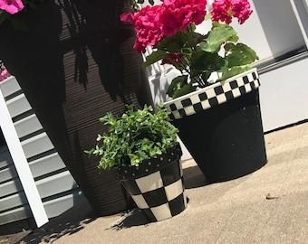 Black and White Checked Planter Pot