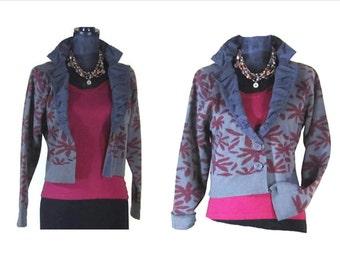 CROPPED KNIT Jacket, 80's Knit cropped jacket, cropped knit jacket, fashion knit jacket, knit cropped cardigan,  FREE Shipping WorldWide!