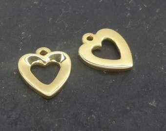 8mm open heart charm gold on st. silver , baby gold heart charm , open heart drop charm small pendant