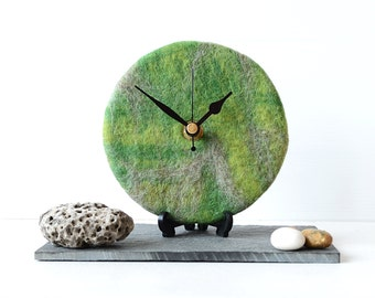 Felted Desk Clock - Green and Grey Felted Wool Round Desk Clock - Pure Wool Desk Clock - Unique Clock