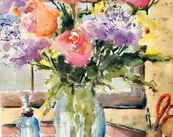 Spring Floral Bouquet Roses Hydrangeas still life watercolor painting original
