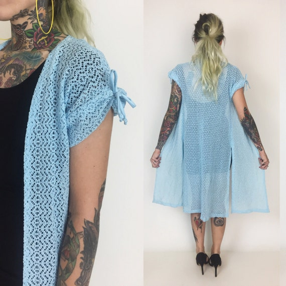 90's Blue Lace Open Layer Small - Lacy Crochet Layering Piece Powder Blue Layer - Sheer Lace Swim Cover Up - Vintage 90's Clueless Baby Blue
