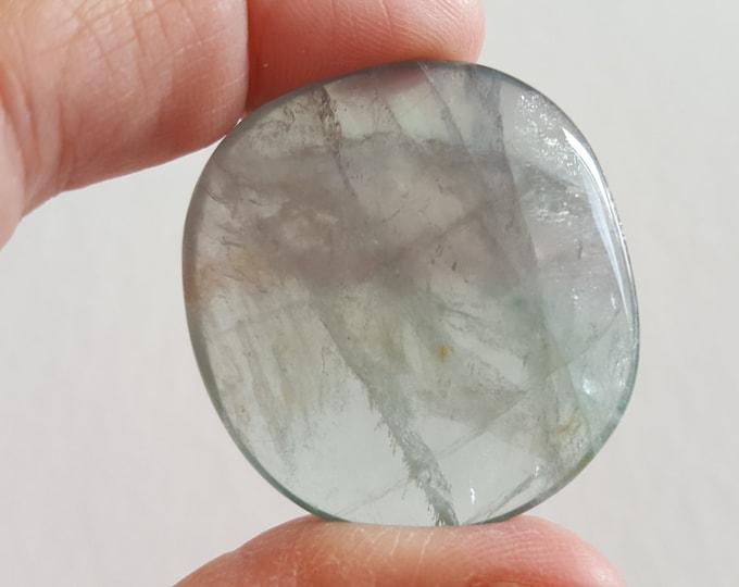 Sm Rainbow Fluorite Palm Stone, Chakra Stone, Worry Stone, Fidget Stone ~ 1 Reiki infused polished flat stone approx 1.4x1.4 inch (FLW63)