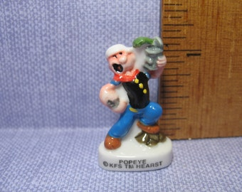 POPEYE the Sailor Man Spinach Can - French Feve Feves Porcelain Figurines Miniatures M17