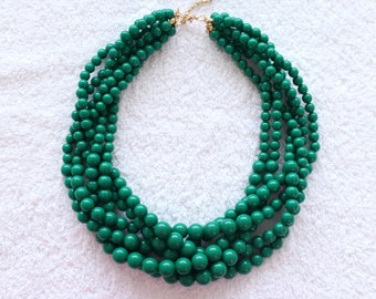 Green Braided Beaded Necklace Twisted Beads Necklace Chunky Necklace Cluster Necklace Statement Necklace Multi Layered Necklace Kelly Green