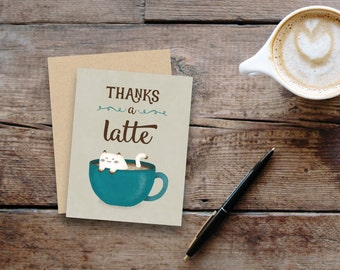 Thanks a latte // Thank you card with cozy cat / blank inside / kraft envelope