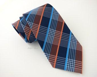 Blue-Orange Plaid Tie - Men's Necktie - Anniversary Gift