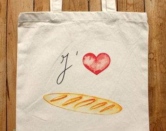 I Love Baguettes tote bag for Francophiles 100% organic cotton FREE SHIPPING from France