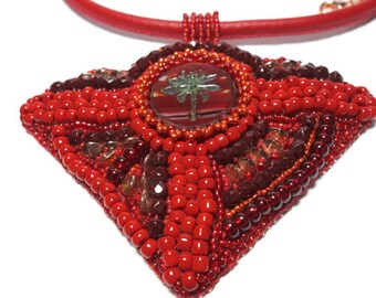 Red glass bead pendant glass beads TOHO beads necklace beaded pendant with embroidered pendant necklace Dragonfly dragonfly