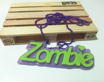 Necklace with resin pendant - zombie note